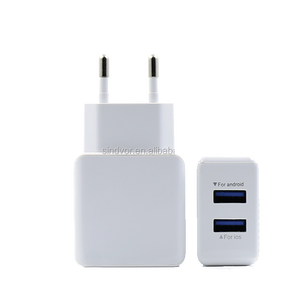 Wholesale High Quality Mobile Chargers White 2A 5V Dual USB Wall Charger