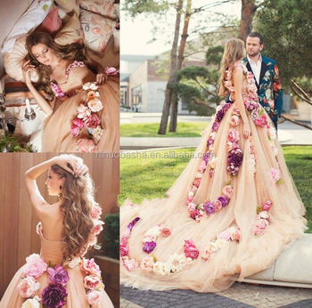 NW1164 Charming Romantic Big Flowers A-line Wedding Dresses Bridal Gowns