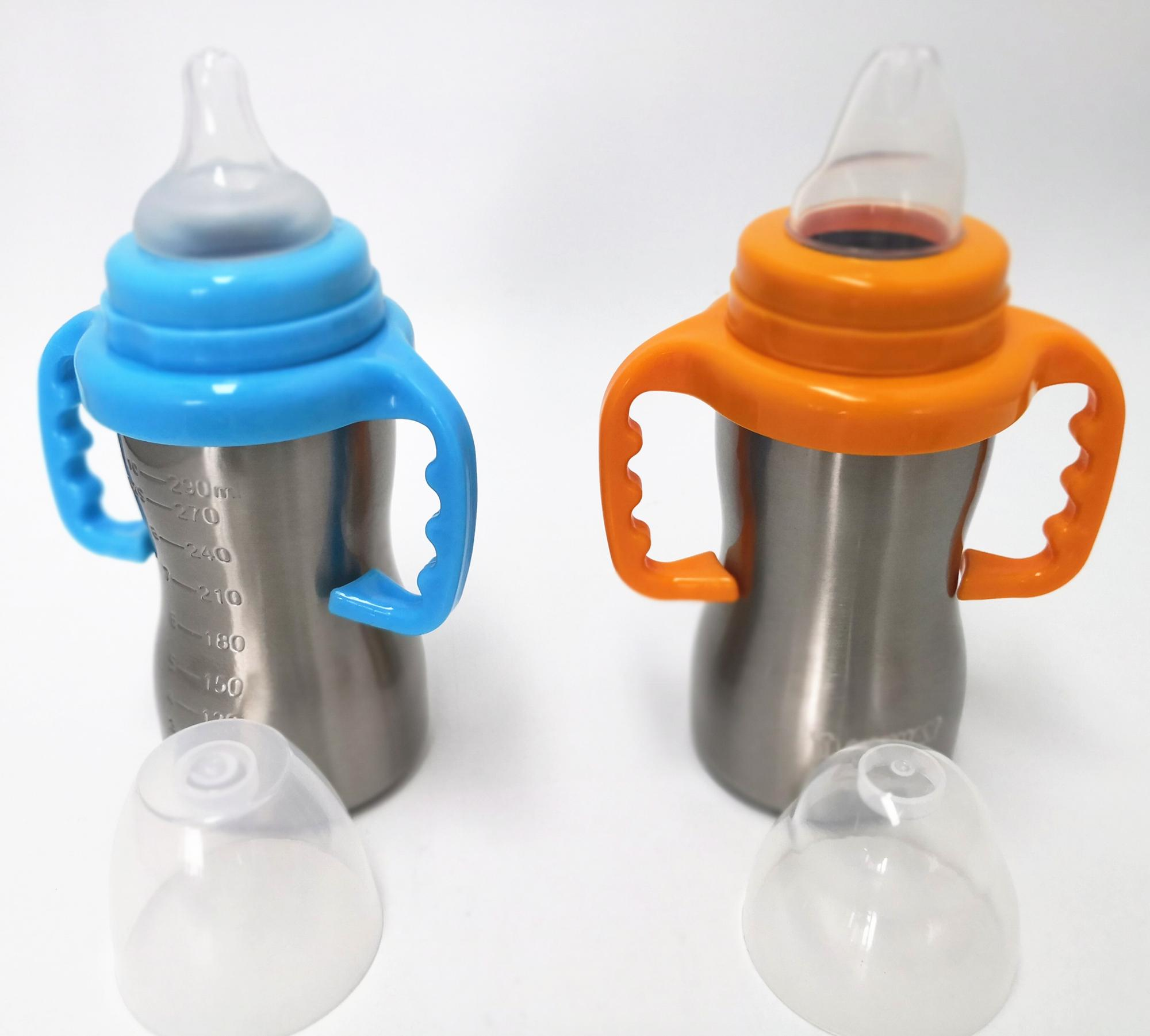 FDA stainless steel baby feeding bottle with silicone pacifier