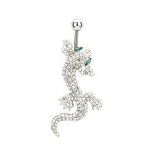 Животный дом ящерица Кристалл пирсинг тела, пупок пупка кольцо из нержавеющей стали 1 шт продажа ящерица(Китай)