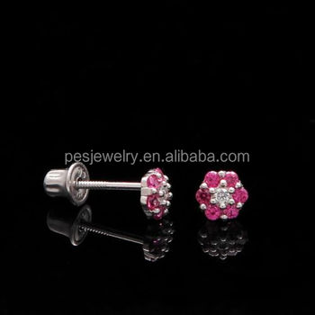 cc46f64b0 PES Fashion Jewelry! Ruby Cluster Children's Studs Screw-back Earrings  (PES9-1438