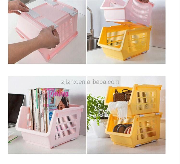 japonais cuisine en plastique panier de rangement bac l gumes fruits panier empilage et bacs. Black Bedroom Furniture Sets. Home Design Ideas