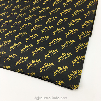 17g golden logo in black wrapping printed tissue paper