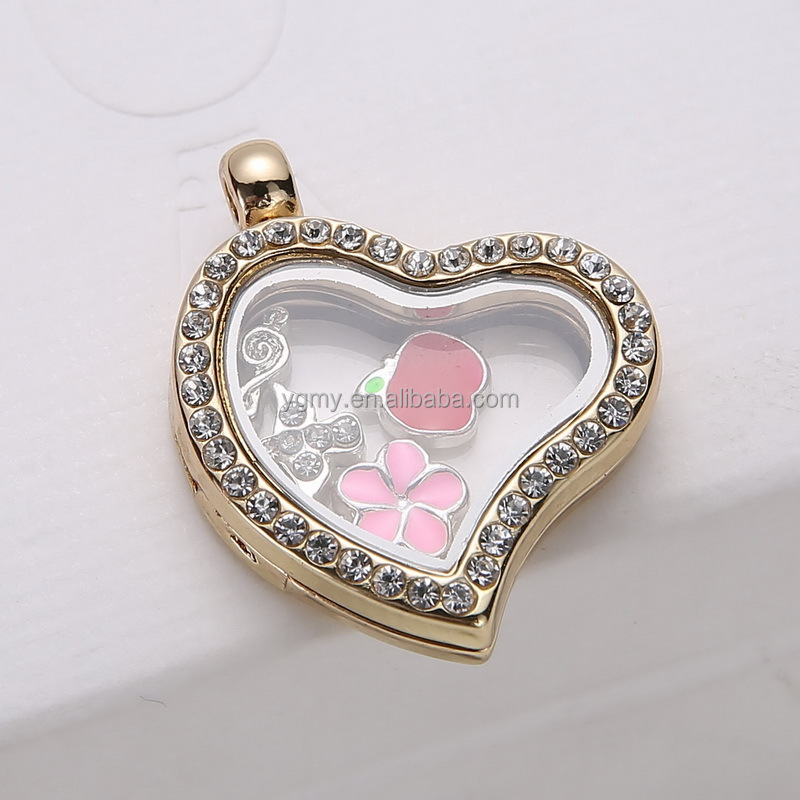 New Design Locket Pendant With Rhinestone For Floating ,Memory Alloy Glass Heart Shape Locket