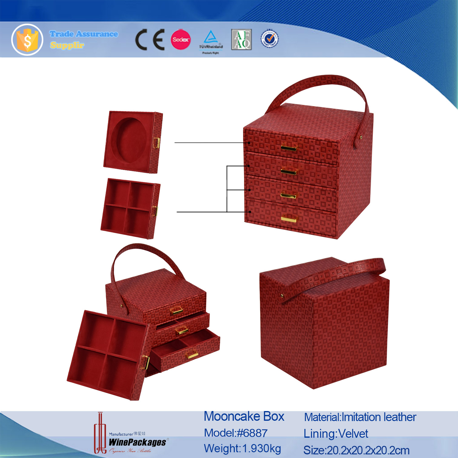 Luxury traditional red drawer handle mooncake hamper packaging box