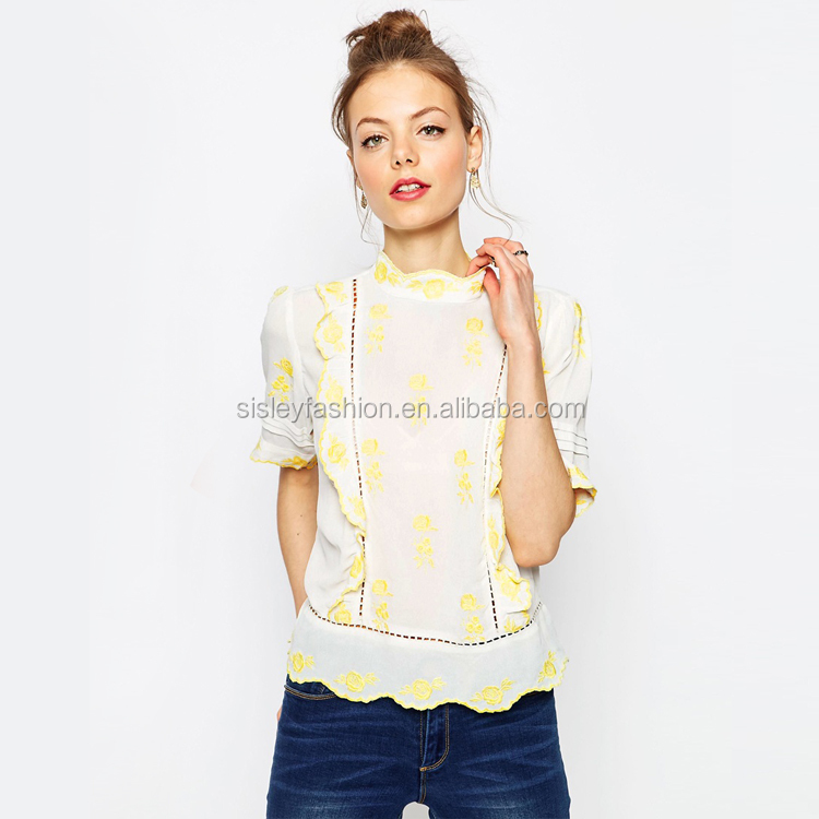 Sexy women blouse design chiffon blouse ladies Pretty Embroidered High Neck Blouse