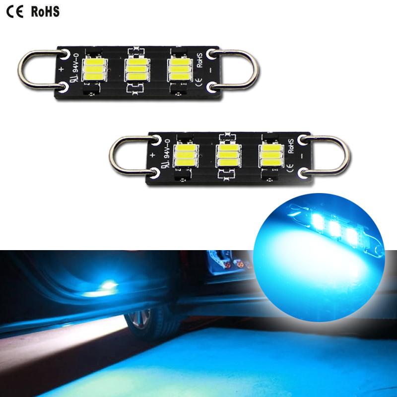2 Pcs Green 36mm 5050 SMD 6 LED 0.9W Festoon Dome Car Light Interior Lamp Bulb