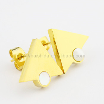 triangle shape 18k gold plated men jewelry joyeria
