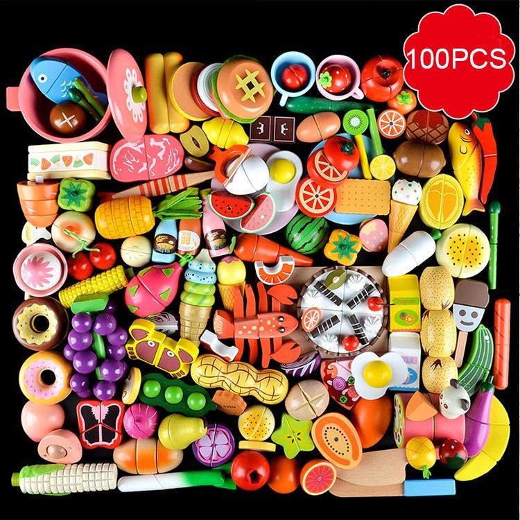 100 PIÈCES Ensemble Enfants Jouet de Cuisine En Bois Coupe Légumes Fruits Jouet avec Aimant pour la Cuisson Apprentissage Précoce Jouet Éducatif Cadeau