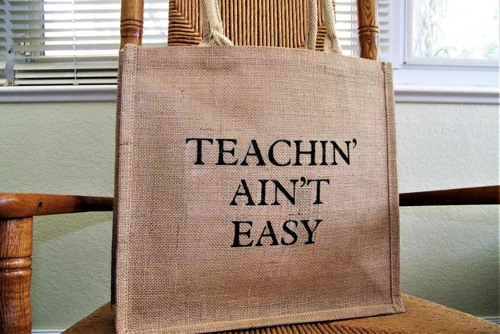 Reusable burlap jute teacher gift funny sayings tote
