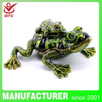 Qifu Metal Craft Frog Trinket Box For Wedding Favors