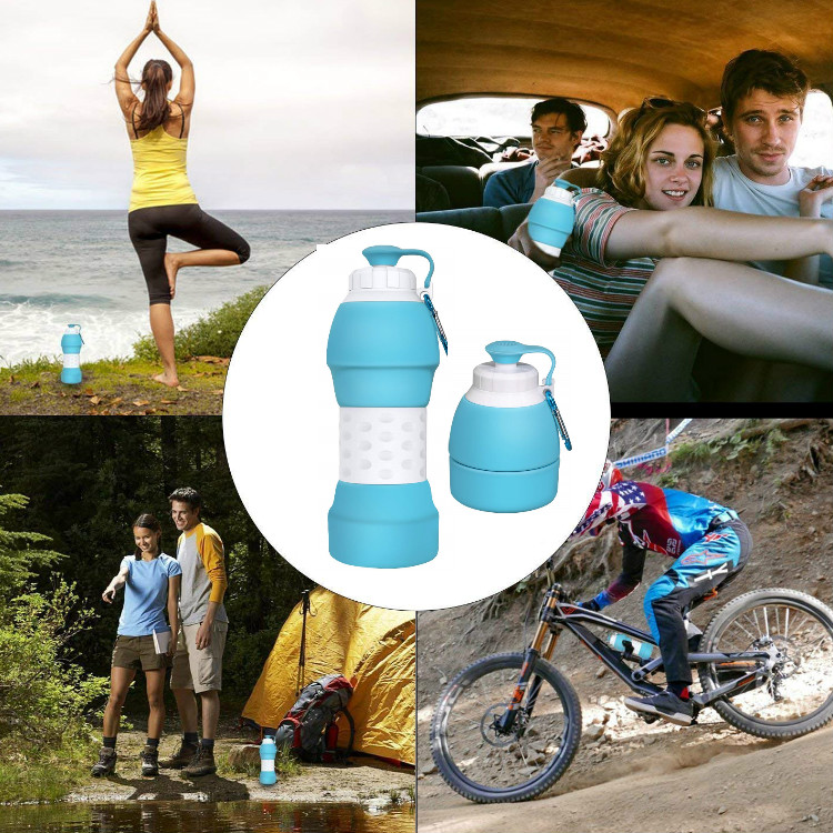580ml 20oz BPA Free Eco Friendly Travel Outdoor Sport Portable Leak Proof Silicone Folding Collapsible Water Bottle Cup