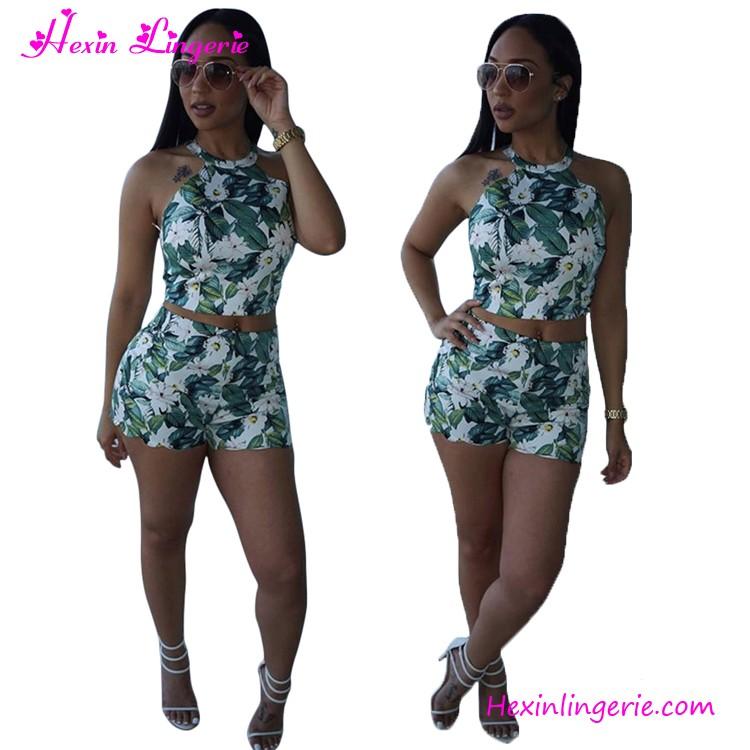 0d1a8127819b8 De moda sin mangas impresión Floral ropa corta Sets 2 unidades conjunto de  las mujeres