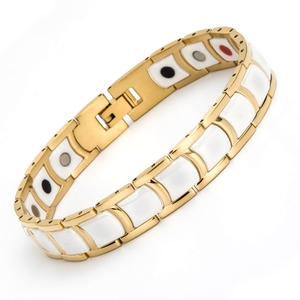 Fashionable white ceramic gold magnet germanium bio energy bracelet Korea japan style