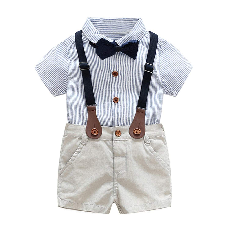 HighDream Baby Boys Gentlemen Short Sleeve Shirt Overalls Shorts Clothing Set with Tie