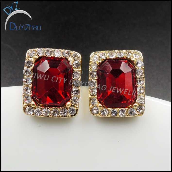 Latest Gold Single Stone Earrings Ruby