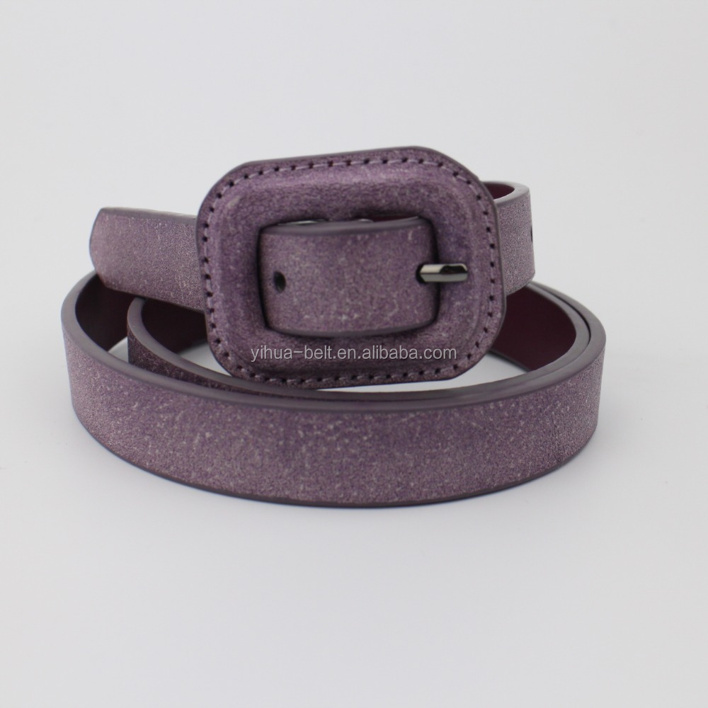 Simple casual colourful and buckle with pu covering belt for women