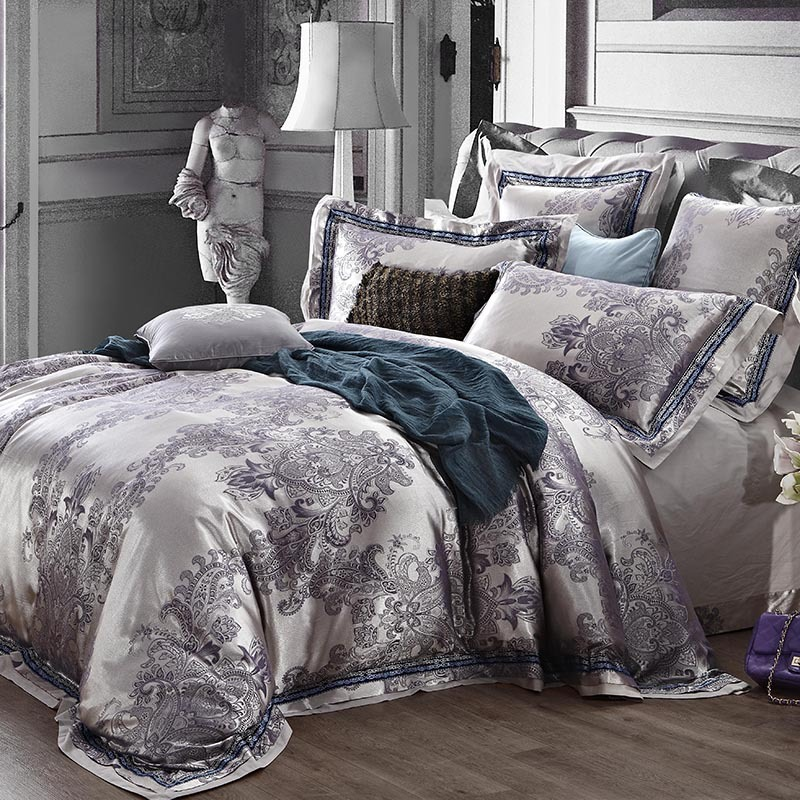 Luxury Jacquard King Queen Size Bedding Set Quilt Duvet