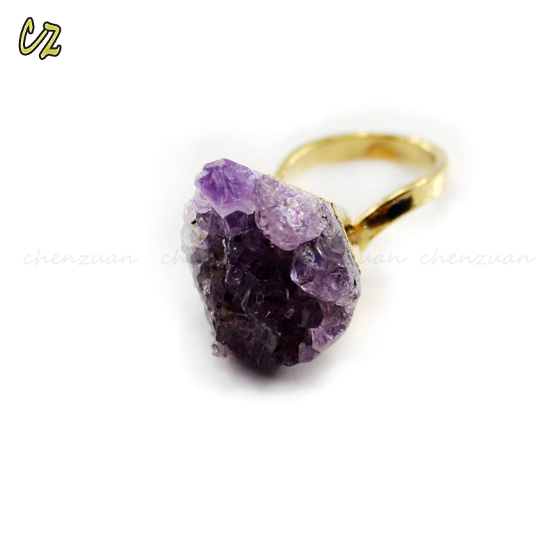 China fashion jewelry adjustable amethyst druzy ring on sale