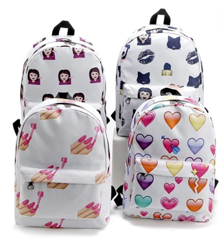 fd927c0e71 Women Girls Travel Canvas Backpack Emoji Shoulder School Book Bag Rucksack  Cute