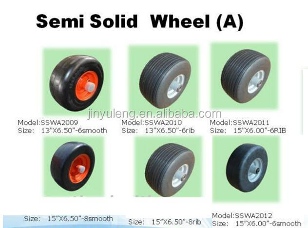 8 x3.00-4 solid rubber wheel with smooth tread for soil preparation machine