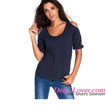 bad3235c9d4f5 Simple Design Navy Blue Scoop Neck Cold Shoulder Oversize women tops ladies