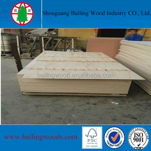 15mm E1 glue BB/CC grade pine plywood from China manufacturer