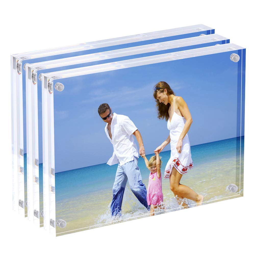 AMEITECH Acrylic Photo Frames 6x8'',Magnetic Acrylic Block Picture Frame,Desktop Frameless Photograph Display (3 Pack)