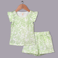 Girl 2015 Clothing Set Green Embroidery Thirt And Short Causal Summer Clothing Sets Girls Apparel Kids Wear CS40420-10