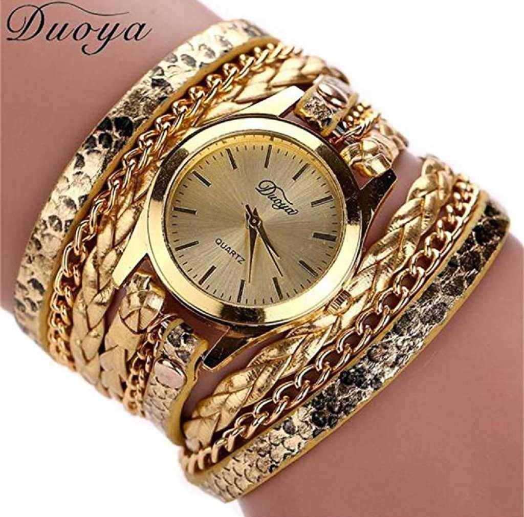 Clearance Sale! Womens Watches,ICHQ Womens Bracelet Watches Clearance Ladies Watches Female Watches on Sale Leather Watch (Gold)