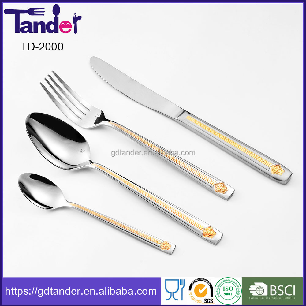 Good polishing elegant satin and gold plated stainless steel cutlery set flatware set