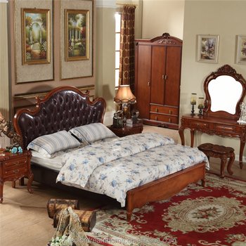 English Style Finish Eastern King Size Bed Frame Set Sculpted Faux Leather  Upholstered Platform Bed