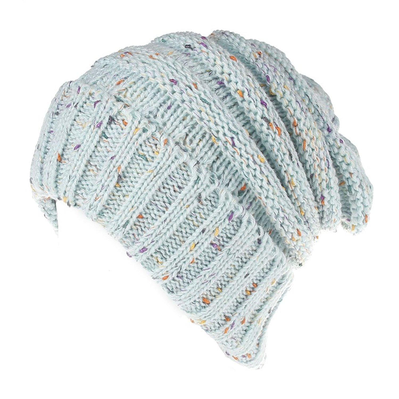 ZOONAI Women Girls Warm Beanie Slouchy Skully Cap Winter Stretch Knit Hat