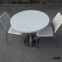 white round marble top quartz dining table top