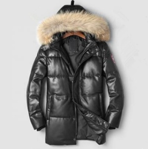 mens black genuine leather high quality Winter down jacket with real fur line hood