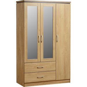 Hot Sale Custom 3 Doors 2 Drawers Design Wardrobe With Mirror