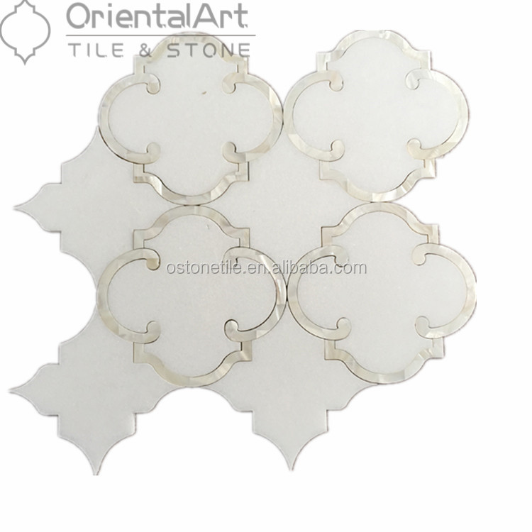 Pure white marble and monther of pearl mix water jet mosaic bathroom wall tiles