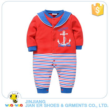 Wholesale newborn boy clothes Lapel design fashion style baby cotton knitted romper