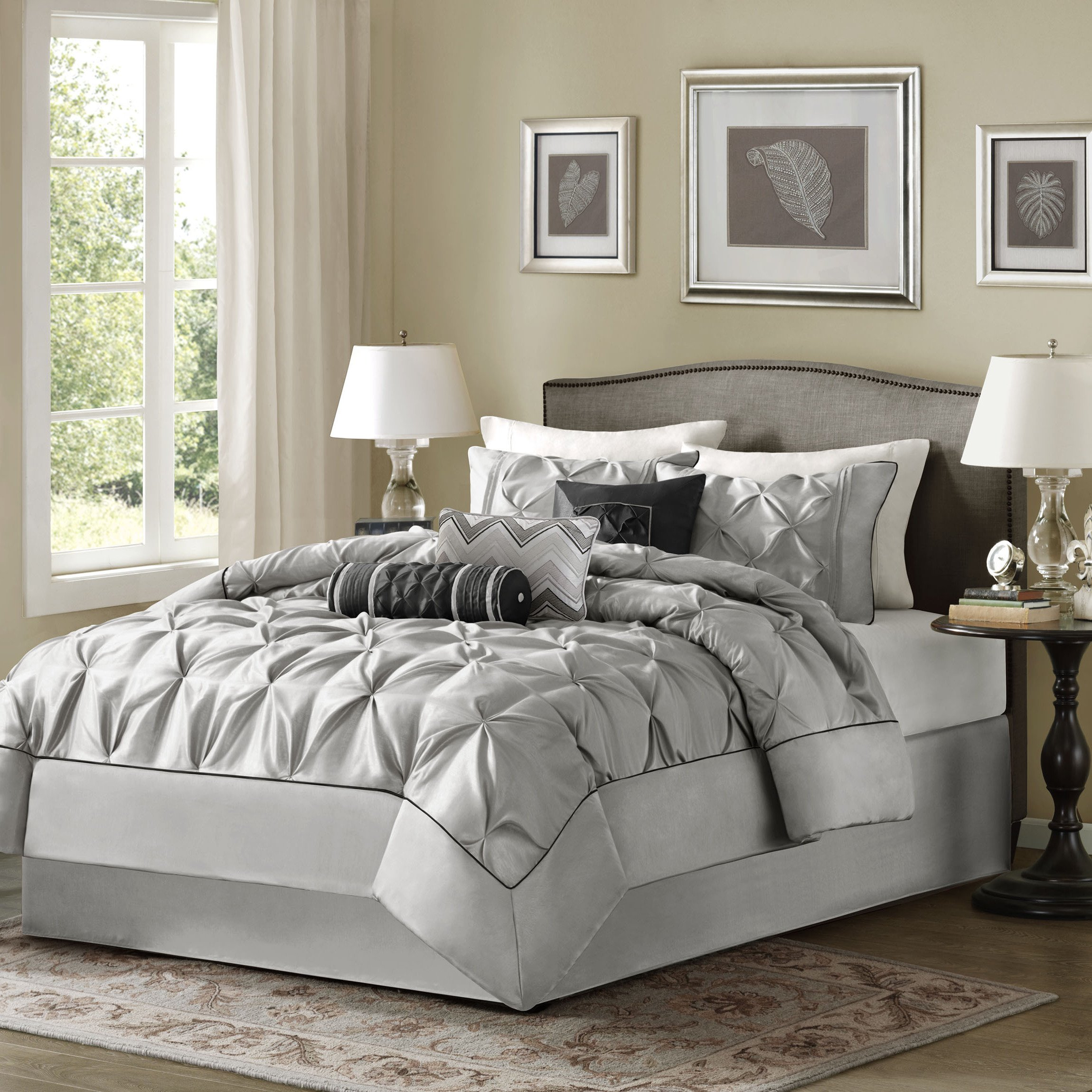 7 Piece Silver Grey Puckered Comforter Queen Set, Gray Pintuck Solid Color Adult Bedding Master Bedroom Modern Stylish Textured Tufted Pattern Classic Elegant Themed Traditional, Polyester Polyoni