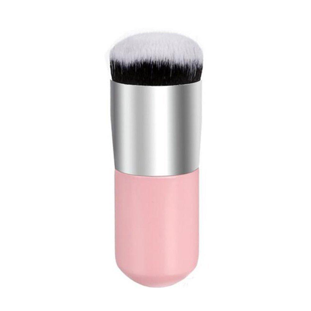 Garrelett 1 PCS Bold Handle Large Round Head Cosmetic Makeup Brush/Foundation Brush/Powder Brush/Blush Brush/Bronzer Brush/Cream BB Brush/Buffer Brush for Face Beauty (Pink+Silver)