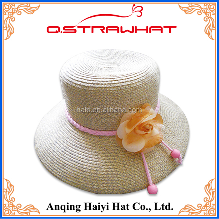 HYSH52 Craft cowboy sombrero straw hat with yellow flower wholesale