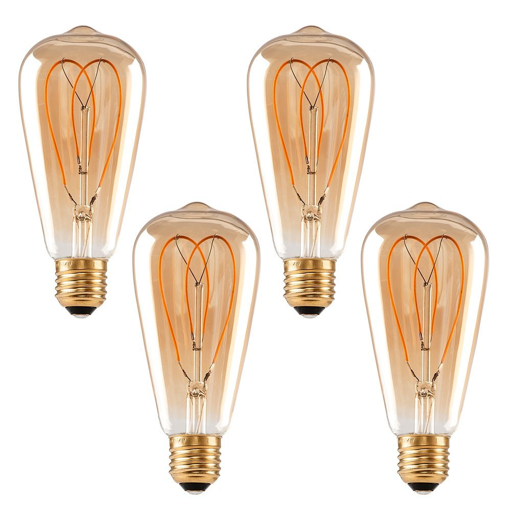 Vintage Flexible LED Filament <strong>Bulb</strong> ST64 - 4W E26 Base,Amber, WARM white 2200K, Edison <strong>Bulb</strong> 40W Equivalent, 120V, Dimmable,4 Pack