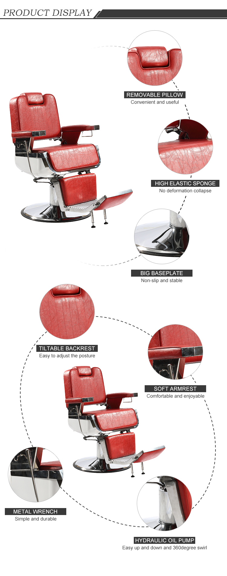 2017 Hot Best Red Leather Barber Chair