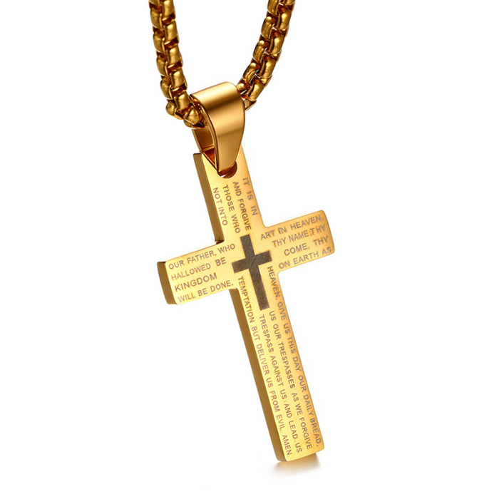 Classic cross design 성경 기도 레이저 음각 silver gold black stainless steel 지배자 기도 cross necklace
