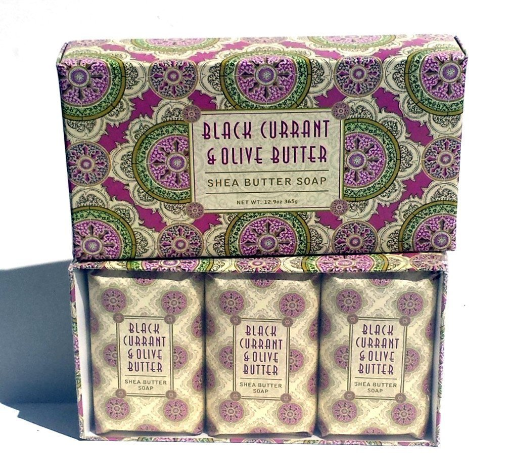 Greenwich Bay BLACK CURRANT OLIVE BUTTER Triple Milled Soap Gift Set with Shea Butter and Cocoa Butter - Set of Three Soap Bars 4.3 Oz. Ea. Individually Wrapped in a Beautiful Gift Box