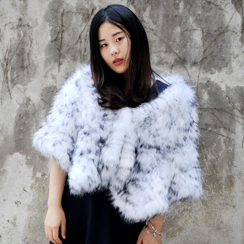 CX-B-45 Women Stole Luxury Women Real Fox Fur Shawl Winter