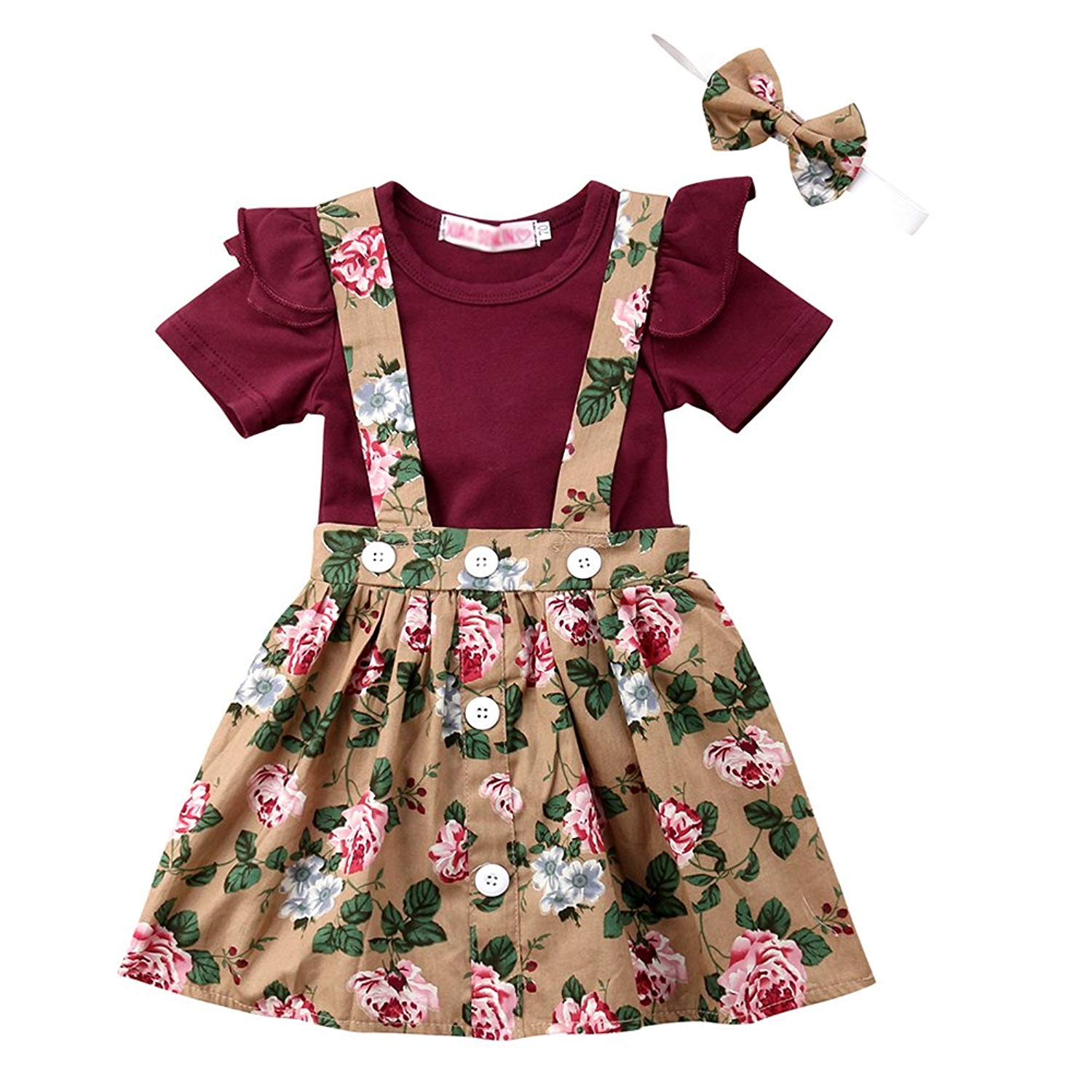 ddfc2256502 Get Quotations · Toddler Baby Gril Newborn Short Fly Sleeves Romper Floral  Jumpsuit Strap Overall Dress Bowknot Headband Set