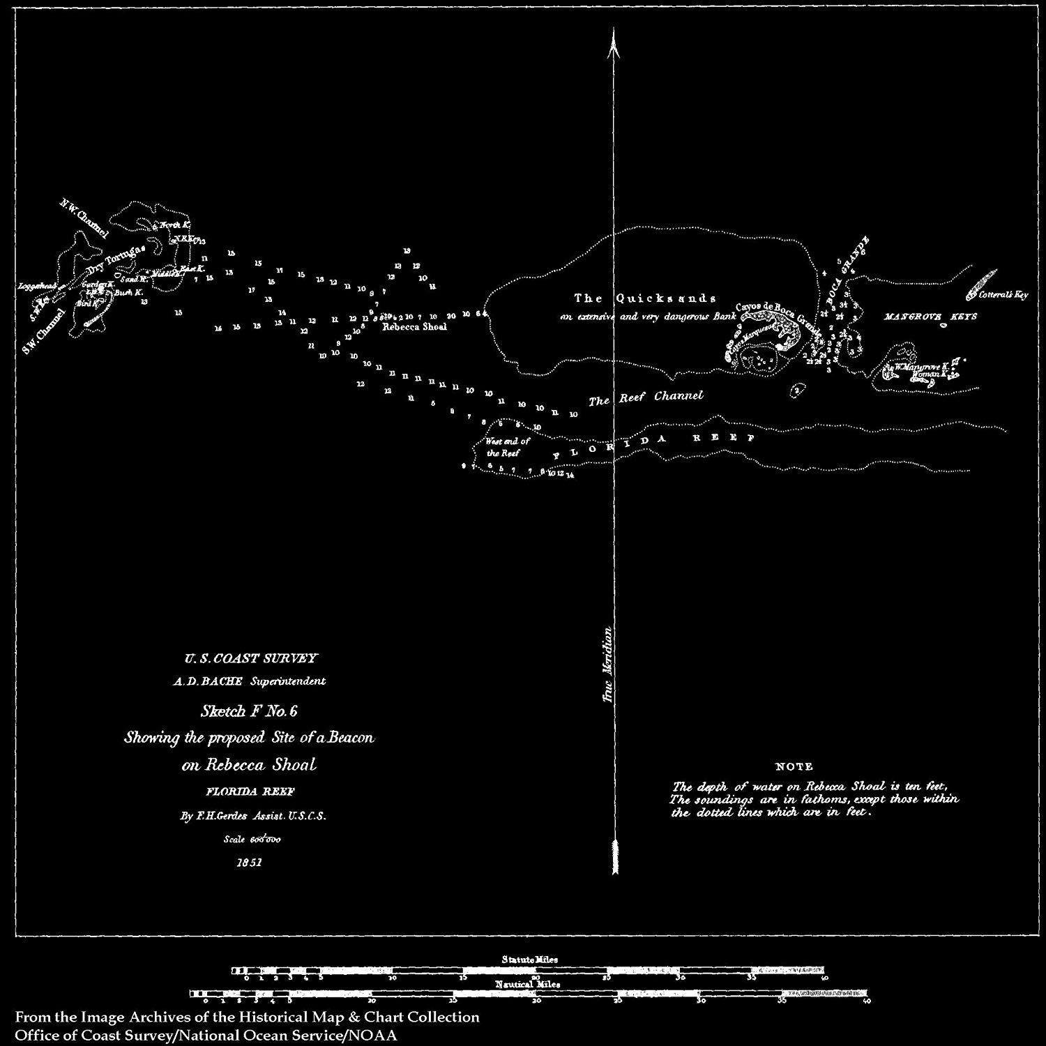 Vintography 18 x 24 Reprinted Blueprint Style Nautical Map Plan Beacons on The Florida Reefs 1861 NOAA 67a