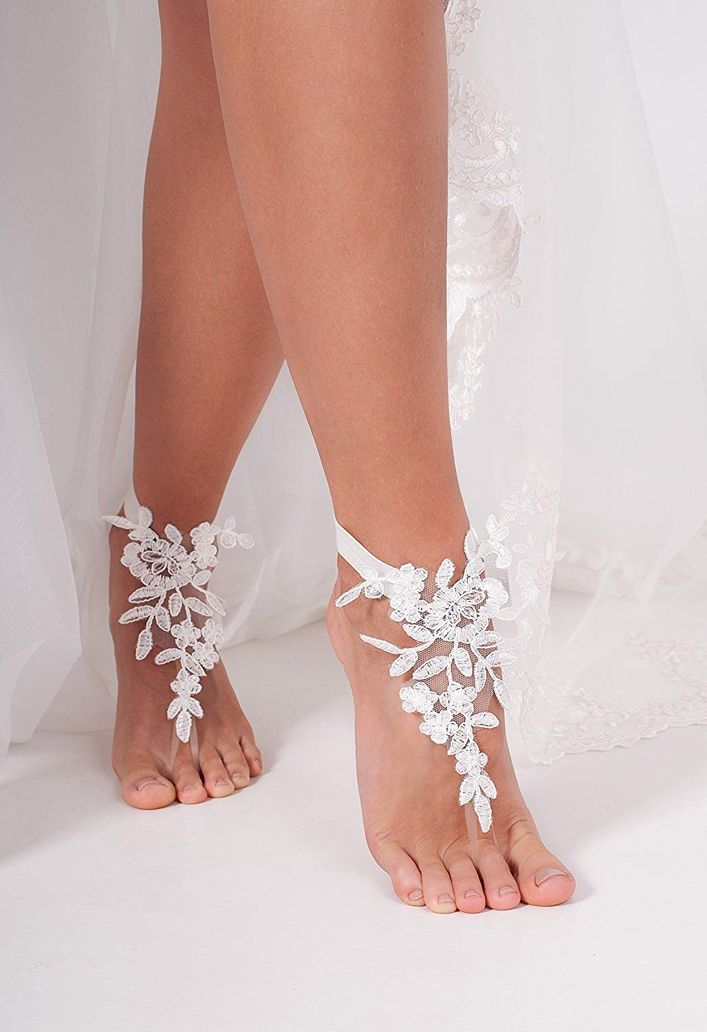 Lace Barefoot Sandals, Bridal accessory, Nude shoes, Foot thongs, French Lace, Sexy, Beach wedding Anklet, bottomless shoes