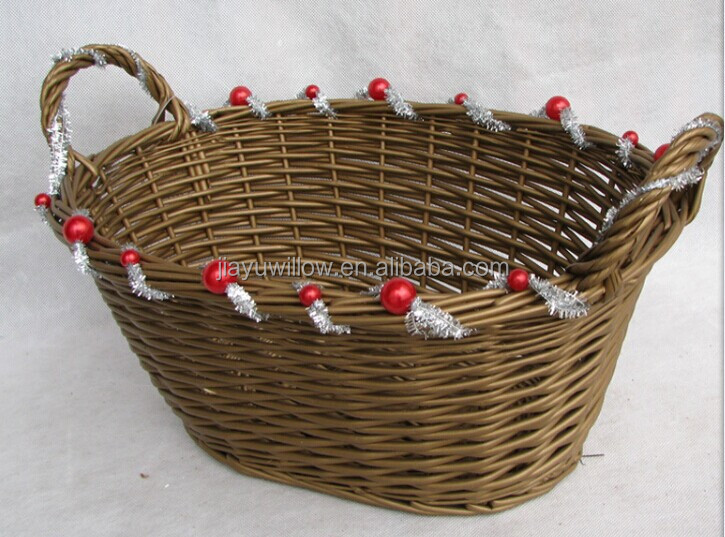 Handmade Basket Gifts : Handmade oval wicker christmas gift basket empty